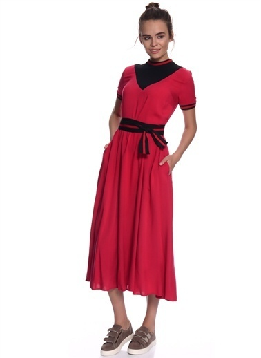 Black Pepper Kısa Kollu Beli Kuşaklı Midi Elbise Kırmızı